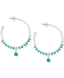 Silver-Tone Stone Bead Open Hoop Earrings