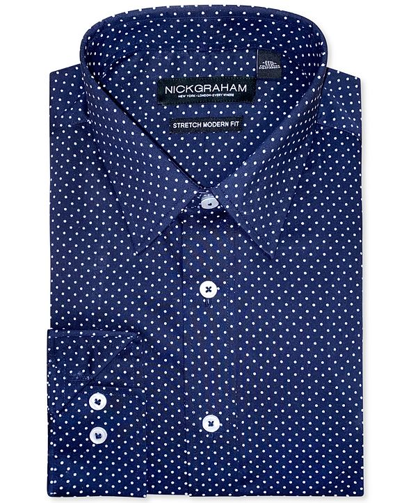 Nick Graham Men's Modern-Fit Pin-Dot Dress Shirt