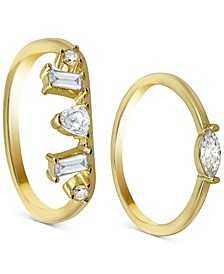 2-Pc. Set Cubic Zirconia Rings in 18k Gold-Plated Sterling Silver
