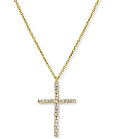 """Cubic Zirconia Cross 18"""" Pendant Necklace in 18k Gold-Plated Sterling Silver"""