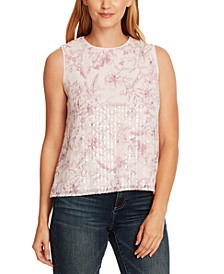Floral-Print Sequined Top
