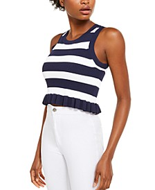Bold Stripe Ruffled Tank Top