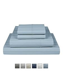 "Manhattan 1000 Thread Count Cotton Rich Wrinkle Resistant King Stripe Sheet 6-Piece Set, Fits Mattress Upto 17"""