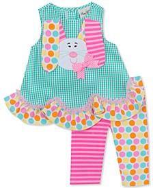 Baby Girls 2-Pc. Seersucker Bunny Tunic & Printed Leggings Set