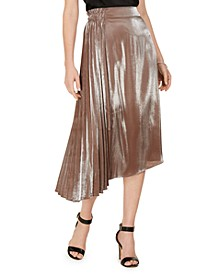 Metallic Pleated Asymmetrical-Hem Skirt