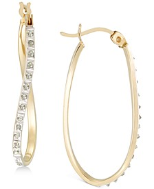 Diamond Accent Twist Hoop Earrings in 18k Gold-Plated Sterling Silver, Created for Macy's