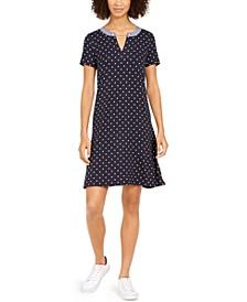 Dot-Print Chain Dress