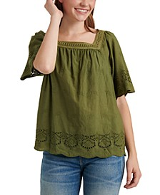 Cotton Lace-Trim Square-Neck Top