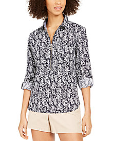 Tommy Hilfiger Cotton Printed Zippered Top