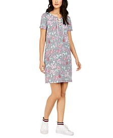 Mixed-Print Lace-Up Dress
