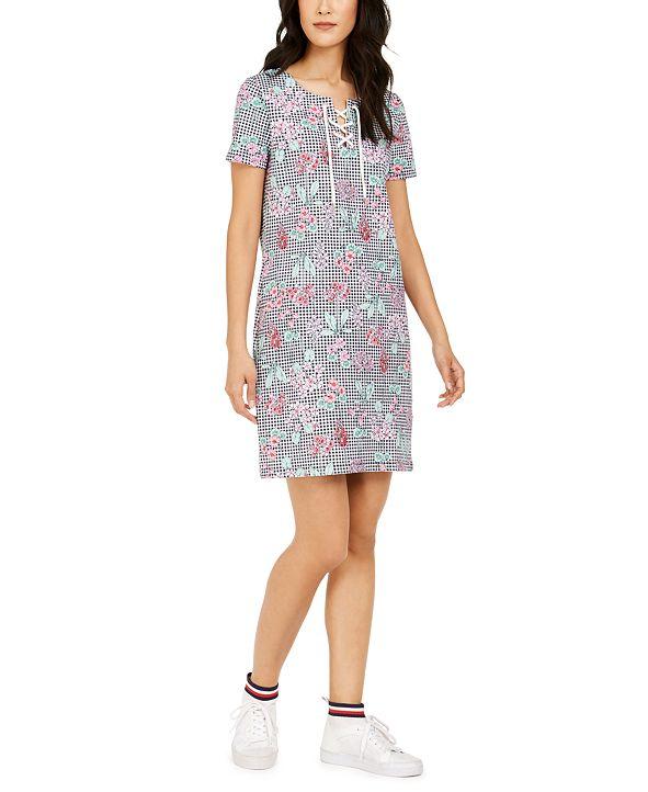 Tommy Hilfiger Mixed-Print Lace-Up Dress