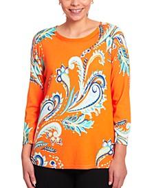 Paisley-Print Keyhole Sweater