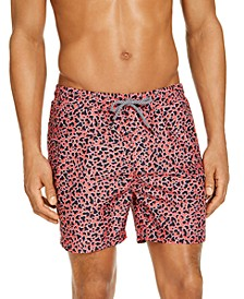 "INC Men's Noah Leopard 5"" Swim Trunks, Created for Macy's"