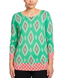 Printed Keyhole Sweater
