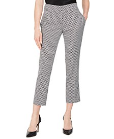 Petite Circle Jacquard Slim Ankle Pants