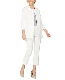 Floral-Jacquard Topper Jacket & Floral-Jacquard Pants