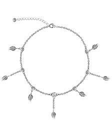 BODIFINE Cubic Zirconia Leaves Sterling Silver-Tone Anklet