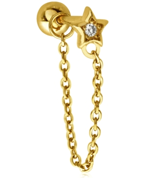 Single Cubic Zirconia Star 10K Gold-Tone Sterling Silver-Tone Ear Chain Stud