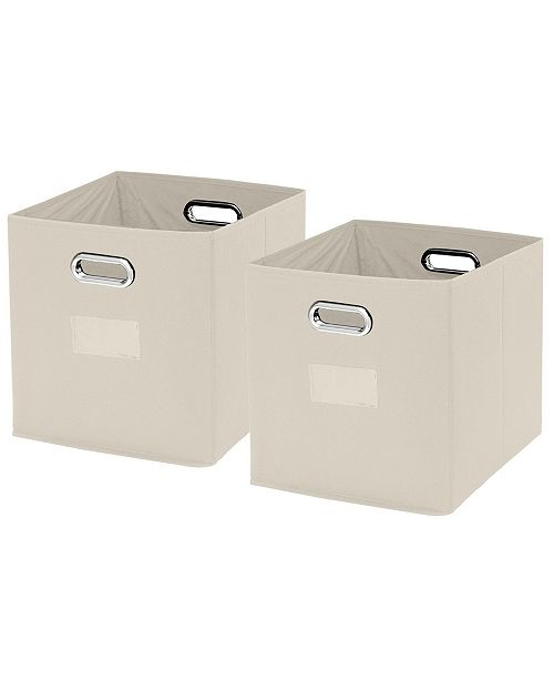 Ornavo Home Foldable Storage Bins Basket Cube Organizer with Dual Handles and Window Pocket - 2 Pack