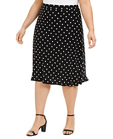 Plus Size Polka-Dot Stretch Midi Skirt