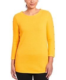 Textured Button-Sleeve Sweater