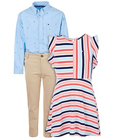 Big Boys Chino Pants & Logo Shirts & Little Girls Striped Flutter Dress Separates