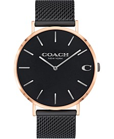 Men's Charles Black Stainless Steel Mesh Bracelet Watch 41mm