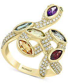 EFFY® Multi-Gemstone (1-3/4 ct.t.w.) & Diamond (3/8 ct. t.w.) Snake Ring in 14k Gold