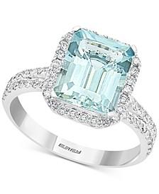 EFFY® Aquamarine (3-1/10 ct. t.w.) & Diamond (1/2 ct. t.w.) Emerald-Cut Halo Ring in 14k White Gold