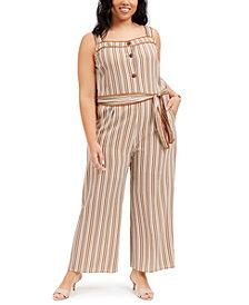 Monteau Trendy Plus Size Striped Jumpsuit