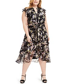 Plus Size Printed Ruffled Dress