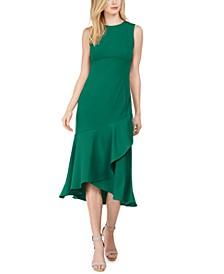 Petite Solid Asymmetrical Ruffled-Hem Midi Dress