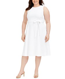 Plus Size Daisy-Trim A-Line Dress