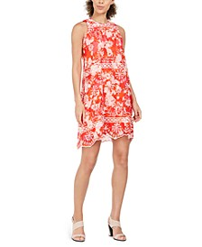 Petite Abstract-Print Embroidered Mini Dress