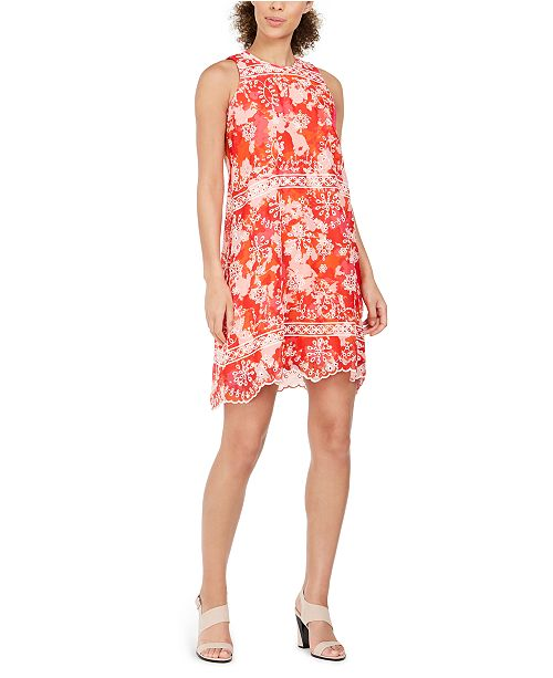 Calvin Klein Petite Abstract-Print Embroidered Mini Dress