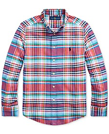 Big Boys Plaid Cotton-Linen Shirt