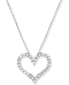 Diamond Heart Outline Pendant Necklace (1/2 ct. t.w.) in 14k White Gold