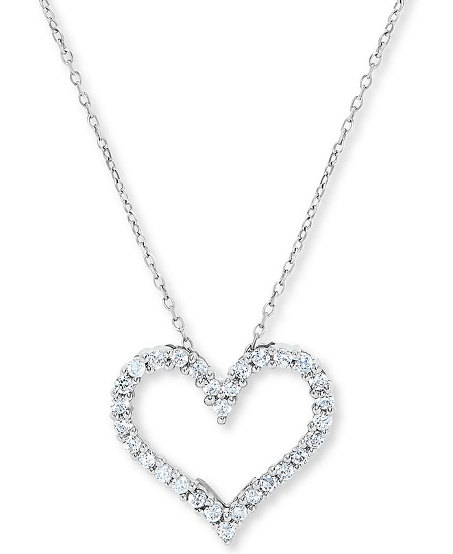 Macy's Diamond Heart Outline Pendant Necklace (1/2 ct. t.w.) in 14k White Gold