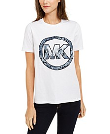 Python-Print Logo Cotton T-Shirt, Regular & Petite Sizes