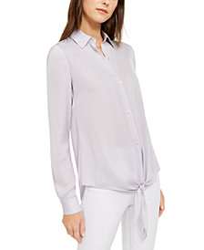 Michael Michael Kors Tie-Front Top, Regular & Petite Sizes