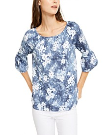 Floral-Print Bell-Sleeve Top, Regular & Petite Sizes