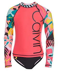 Big Girls 2-Pc. Tropical Logo Rash Guard Set