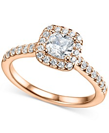 Diamond Halo Engagement Ring (1-1/6 ct. t.w.) in 14k Rose Gold