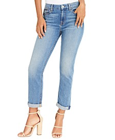 Cropped Cuffed Straight-Leg Jeans
