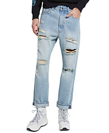 GUESS Men's Relaxed-Fit Cropped Jeans