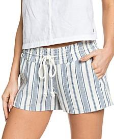 Juniors' Oceanside Striped Beach Shorts