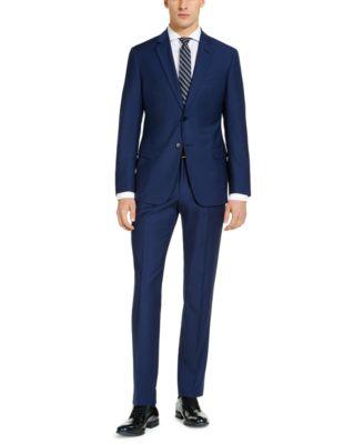 Men's Modern-Fit High Blue Pindot Wool Suit Pants