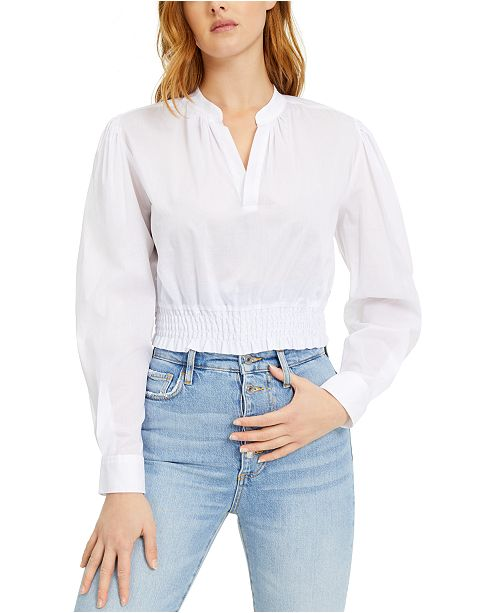 GUESS Cotton Cropped Smocked Top
