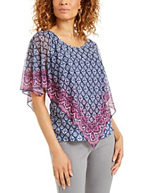 Petite Mesh Poncho Top, Created for Macy's