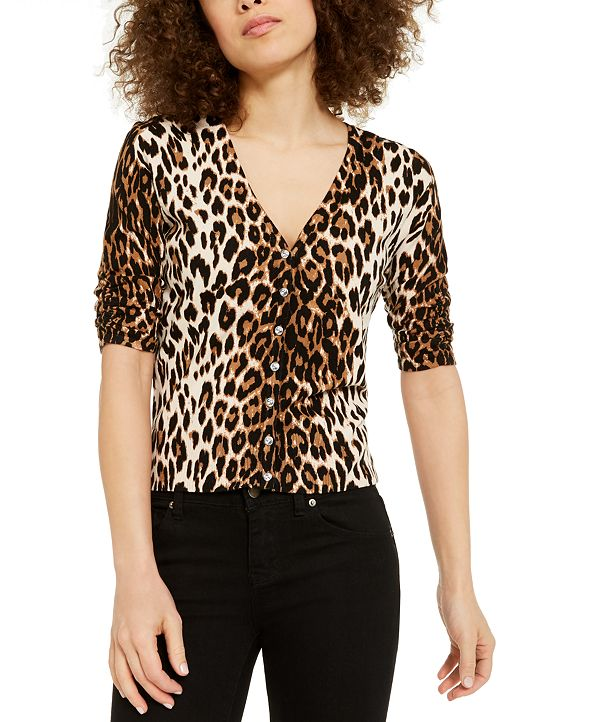 INC International Concepts INC Leopard-Print Cardigan Sweater, Created for Macy's